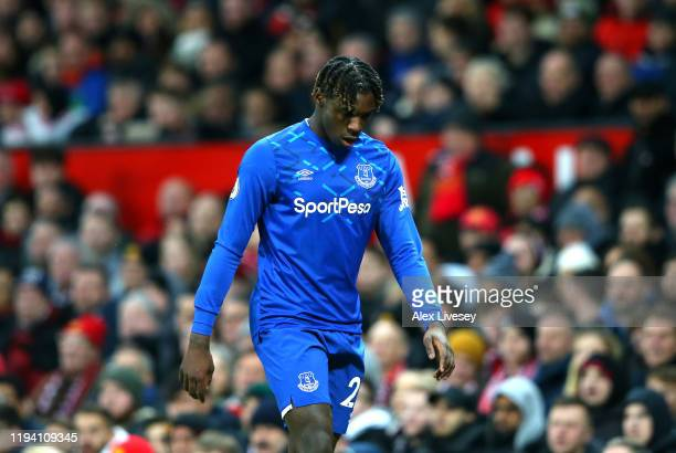 Moise Kean of Everton walks off the pitch after being substituted during the Premier League match between Manchester United and Everton FC at Old...