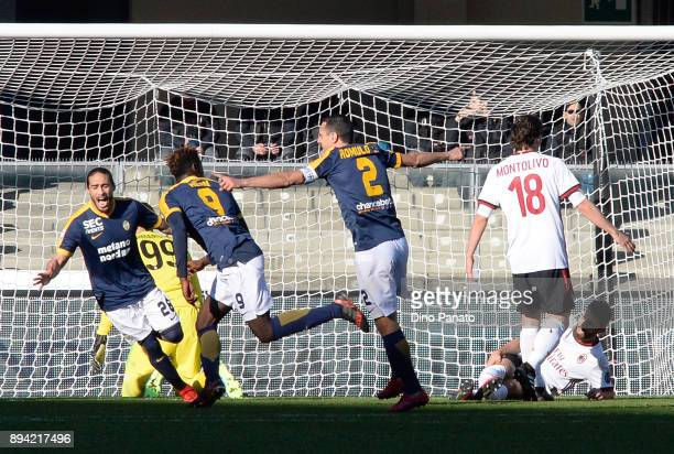 Moise Kean of Hellas Verona celebrates after scoring his teams second goal during the Serie A match between Hellas Verona FC and AC Milan at Stadio...