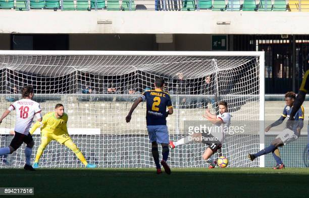 Moise Kean of Hellas Verona cscores his teams second goal during the Serie A match between Hellas Verona FC and AC Milan at Stadio Marc'Antonio...