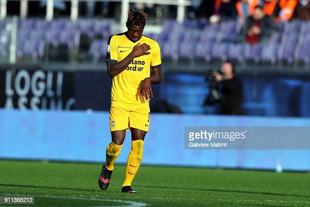 Moise Kean of Hellas Verona FC celebrates after scoring a goal during the serie A match between ACF Fiorentina and Hellas Verona FC at Stadio Artemio...