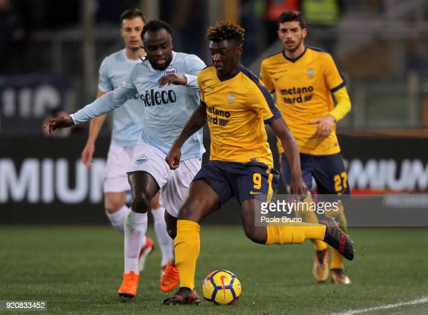 Moise Kean of Hellas Verona FC competes for the ball with Jordan Lukaku of SS Lazio during the serie A match between SS Lazio and Hellas Verona FC at...