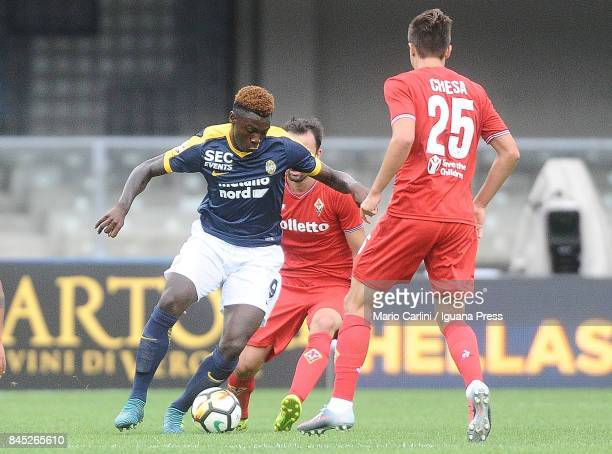 Moise Kean of Hellas Verona FC in action during the Serie A match between Hellas Verona FC and ACF Fiorentina at Stadio Marc'Antonio Bentegodi on...