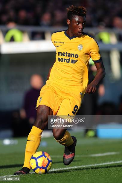 Moise Kean of Hellas Verona FC in action during the serie A match between ACF Fiorentina and Hellas Verona FC at Stadio Artemio Franchi on January 28...