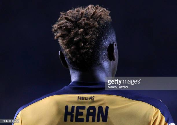 Moise Kean of Hellas Verona FC looks on during the Serie A match between Atalanta BC and Hellas Verona FC at Stadio Atleti Azzurri d'Italia on...