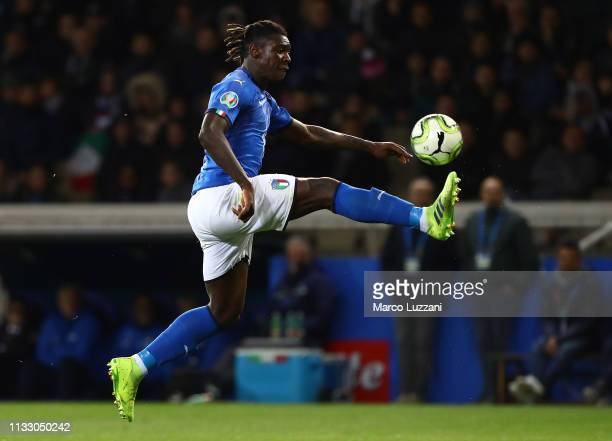 Moise Kean of Italy controls the ball during the 2020 UEFA European Championships group J qualifying match between Italy and Liechtenstein at Ennio...