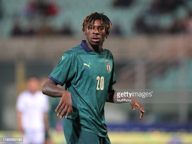 Moise Kean of Italy during the UEFA U21 European Championship Qualifier match between Italy and Armenia at Stadio Angelo Massimino on November 19,...