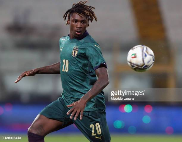 Moise Kean of Italy during the UEFA U21 European Championship Qualifier match between Italy and Armenia at Stadio Angelo Massimino on November 19...