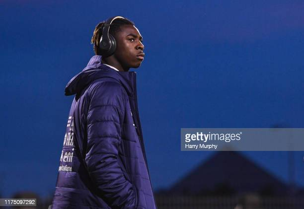 Moise Kean of Italy looks on prior to the UEFA U21 Championships Qualifier match between the Republic of Ireland and Italy at Tallaght Stadium on...