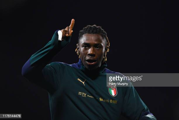 Moise Kean of Italy prior to the UEFA U21 Championships Qualifier match between the Republic of Ireland and Italy at Tallaght Stadium on October 10...