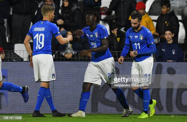 Moise Kean of Italy U21 celebrates after scoring the 1-1 goal with temmates during the International friendly match between Italy U21 and England U21...