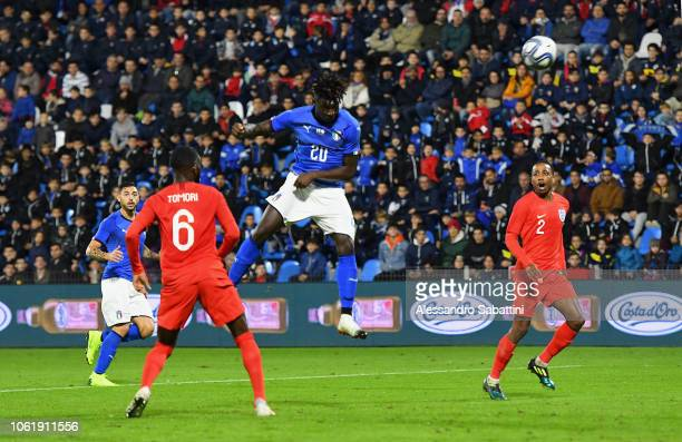 Moise Kean of Italy U21 heads the ball to score the 1-1 goal during the International friendly match between Italy U21 and England U21 on November...