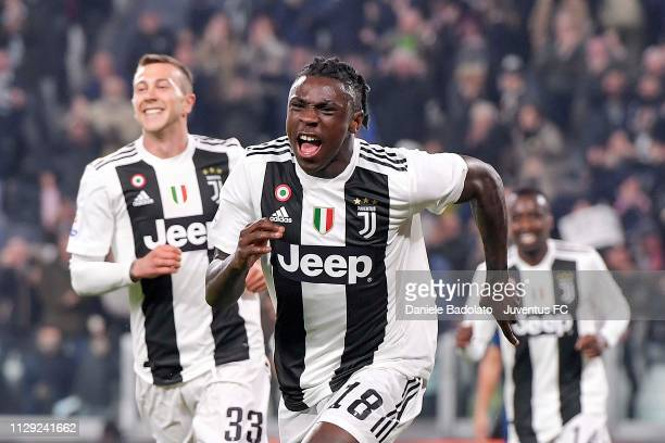 Moise Kean of Juventus celebrates after his opening goal during the Serie A match between Juventus and Udinese at Allianz Stadium on March 8 2019 in...