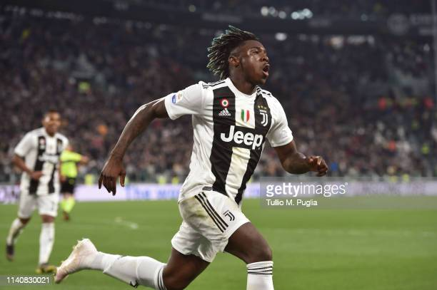Moise Kean of Juventus celebrates after scoring his team's second goal during the Serie A match between Juventus and AC Milan on April 06 2019 in...
