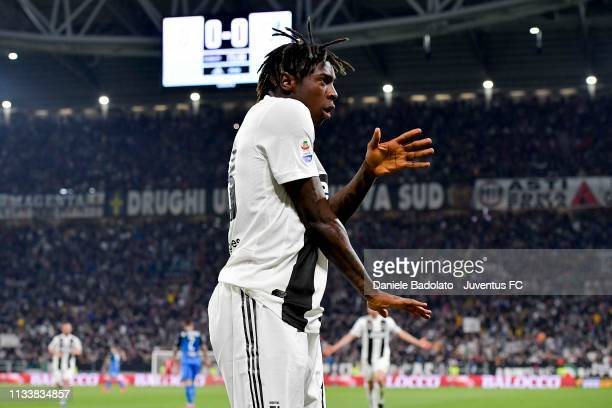 Moise Kean of Juventus celebrates after scoring opening goal during the Serie A match between Juventus and Empoli at Allianz Stadium on March 30 2019...
