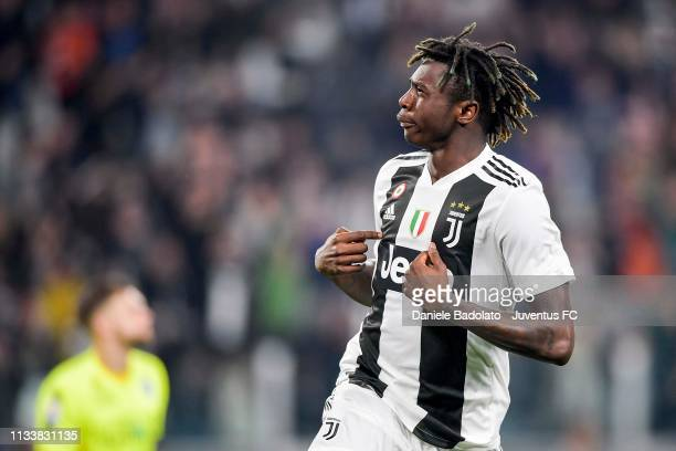 Moise Kean of Juventus celebrates after scoring the opening goal during the Serie A match between Juventus and Empoli at Allianz Stadium on March 30...