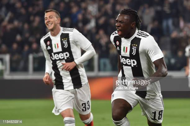 Moise Kean of Juventus celebrates after scoring the opening goal during the Serie A match between Juventus and Udinese at Allianz Stadium on March 08...