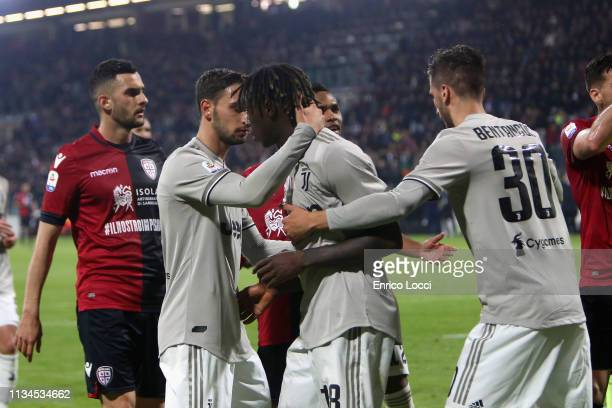 Moise Kean of Juventus celebrates his goal 02 during the Serie A match between Cagliari and Juventus at Sardegna Arena on April 2 2019 in Cagliari...