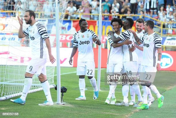 Moise Kean of Juventus FC celebrates after scoring his team's second goal during the Serie A match between Bologna FC and Juventus FC at Stadio...