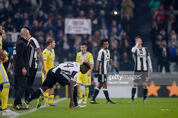 Moise Kean of Juventus FC makes his first appearance in Serie A during the Serie A football match between Juventus FC and Pescara Calcio