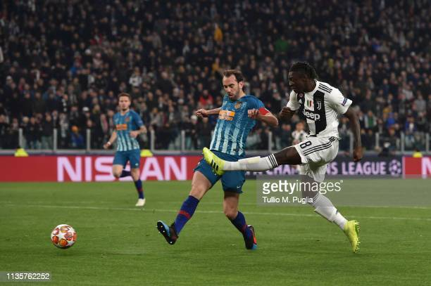 Moise Kean of Juventus kicks the ball during the UEFA Champions League Round of 16 Second Leg match between Juventus and Club de Atletico Madrid at...