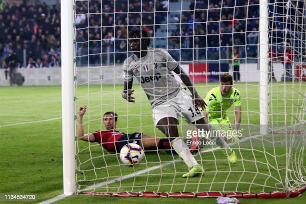 Moise Kean of Juventus scores his goal 02 during the Serie A match between Cagliari and Juventus at Sardegna Arena on April 2 2019 in Cagliari Italy