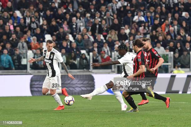 Moise Kean of Juventus scores his team's second goal during the Serie A match between Juventus and AC Milan on April 06 2019 in Turin Italy