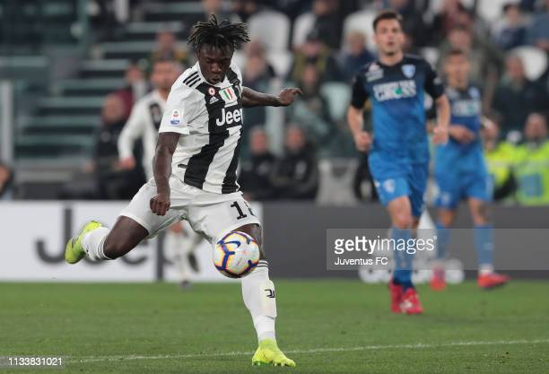 Moise Kean of Juventus scores the opening goal during the Serie A match between Juventus and Empoli at Allianz Stadium on March 30 2019 in Turin Italy