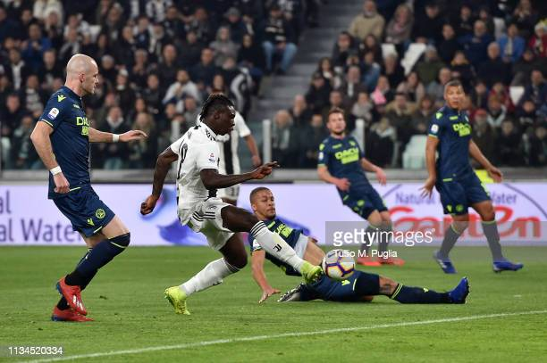 Moise Kean of Juventus scores the opening goal during the Serie A match between Juventus and Udinese at Allianz Stadium on March 08 2019 in Turin...