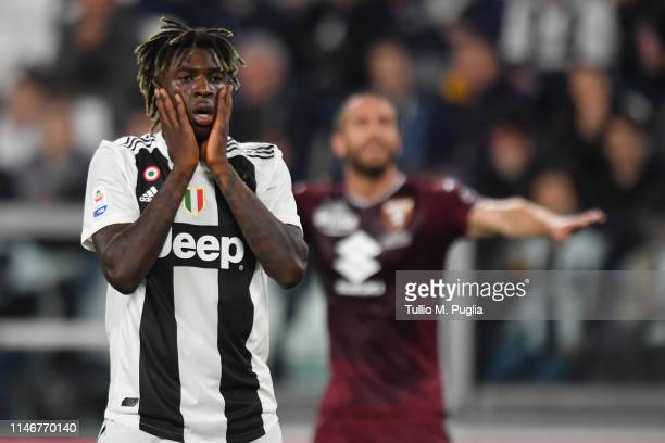Moise Kean of Juventus shows his dejection after missing a goal during the Serie A match between Juventus and Torino FC on May 03 2019 in Turin Italy