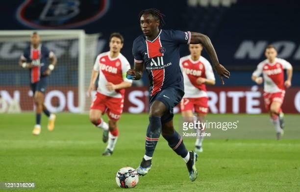 Moise Kean of Paris Saint Germain in action during the Ligue 1 soccer match between Paris Saint-Germain and AS Monaco at Parc des Princes on February...