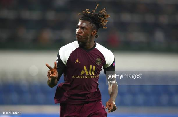 Moise Kean of Paris Saint-Germain celebrates after scoring his sides second goal during the UEFA Champions League Group H stage match between...