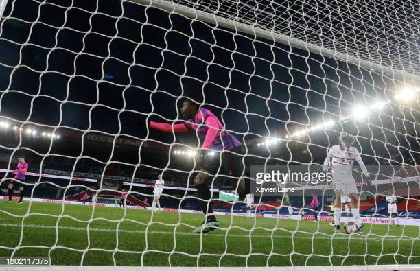 Moise Kean of Paris Saint-Germain celebrates his goal during the Ligue 1 match between Paris Saint-Germain and OGC Nice at Parc des Princes on...