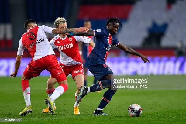 Moise Kean of Paris Saint-Germain fights for the ball during the Ligue 1 soccer match between Paris Saint-Germain and AS Monaco at Parc des Princes...