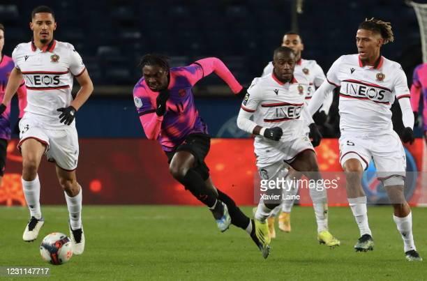 Moise Kean of Paris Saint-Germain in action during the Ligue 1 match between Paris Saint-Germain and OGC Nice at Parc des Princes on February 13,...
