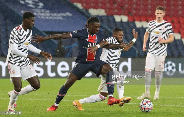 Moise Kean of Paris SaintGermain in action during the UEFA Champions League Group H stage match between Paris SaintGermain and Manchester United at...