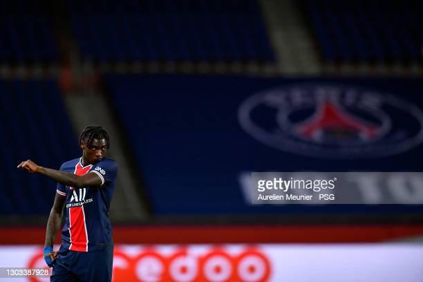 Moise Kean of Paris Saint-Germain looks on during the Ligue 1 soccer match between Paris Saint-Germain and AS Monaco at Parc des Princes on February...