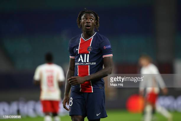 Moise Kean of Paris Saint-Germain looks on during the UEFA Champions League Group H stage match between RB Leipzig and Paris Saint-Germain at Red...