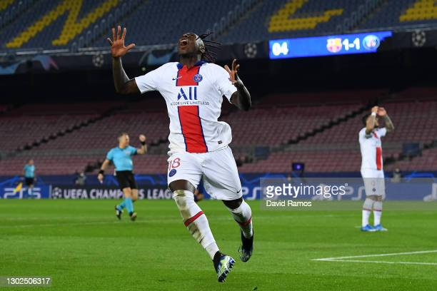 Moise Kean of Paris Saint-Germain reacts after a missed opportunity during the UEFA Champions League Round of 16 match between FC Barcelona and Paris...