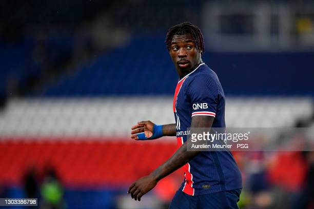 Moise Kean of Paris Saint-Germain reacts during the Ligue 1 soccer match between Paris Saint-Germain and AS Monaco at Parc des Princes on February...