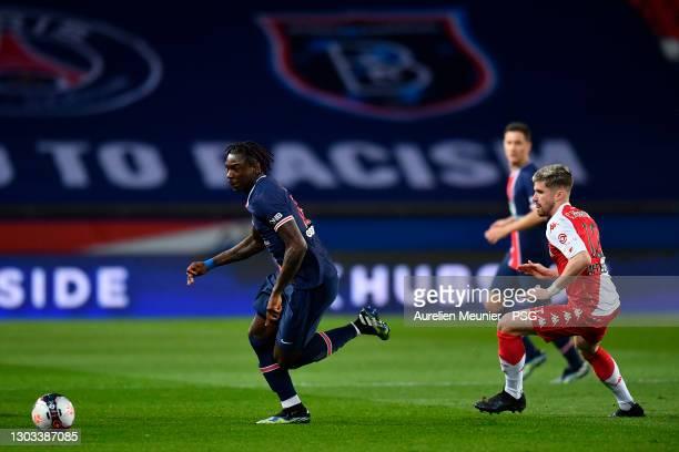 Moise Kean of Paris Saint-Germain runs with the ball during the Ligue 1 soccer match between Paris Saint-Germain and AS Monaco at Parc des Princes on...