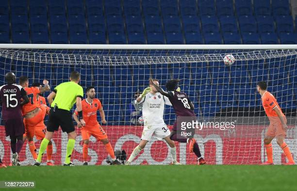 Moise Kean of Paris Saint-Germain scores his team's first goal during the UEFA Champions League Group H stage match between Istanbul Basaksehir and...