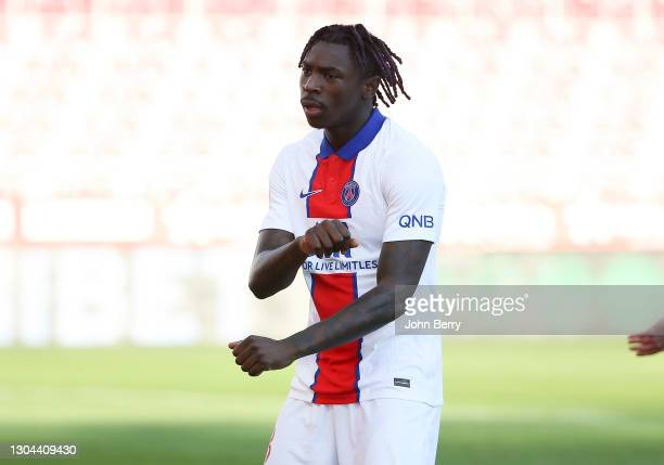 Moise Kean of PSG celebrates his goal during the Ligue 1 match between Dijon FCO and Paris Saint-Germain at Stade Gaston Gerard on February 27, 2021...