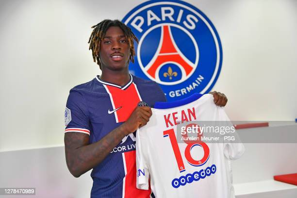 Moise Kean signs a one year loan with the Paris Saint-Germain on October 04, 2020 in Paris, France.