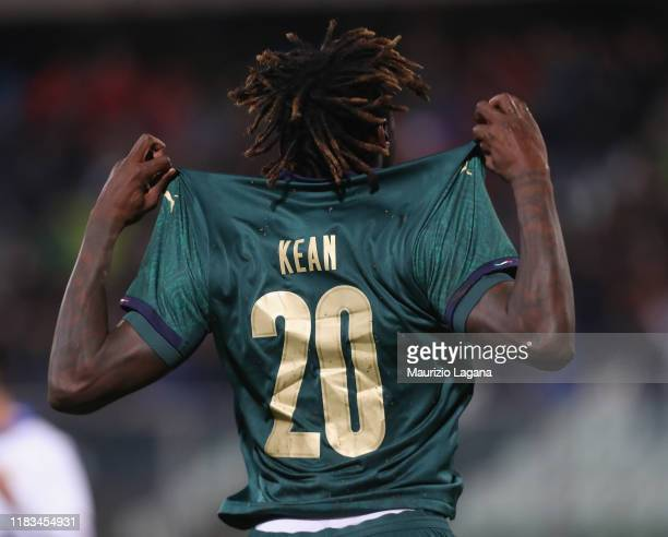 Moise Keane of Italy celebrates after scoring his team's opening goal during the UEFA U21 European Championship Qualifier match between Italy and...