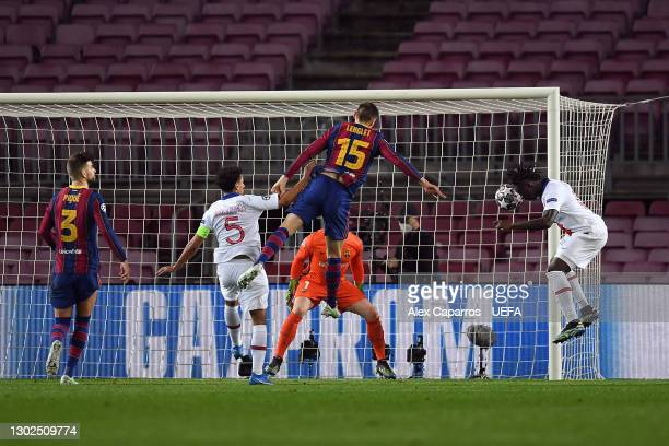 Moise Keane of Paris Saint-Germain scores their side's third goal during the UEFA Champions League Round of 16 match between FC Barcelona and Paris...