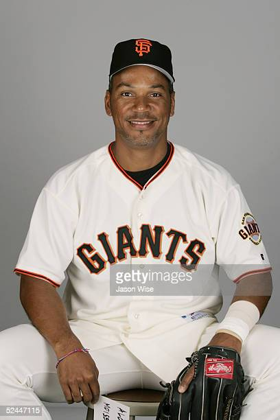 Moises Alou of the San Francisco Giants poses for a portrait during photo day at Scottsdale Stadium on March 2, 2005 in Scottsdale, Arizona.