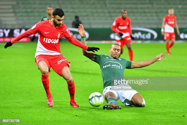 Moises Antunes Gabriel Silva of St Etienne and Rachid Ghezzal of Monaco during the Ligue 1 match between AS SaintEtienne and AS Monaco at Stade...