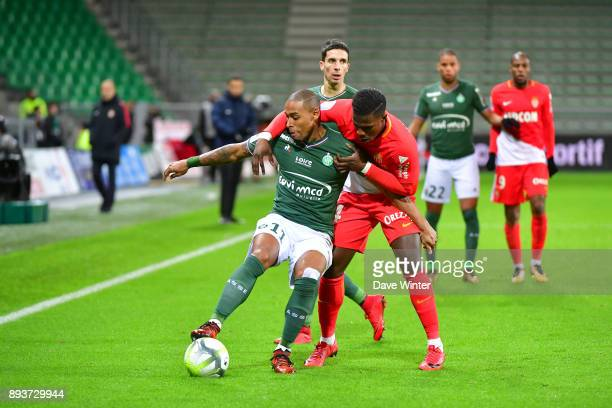 Moises Antunes Gabriel Silva of St Etienne tries to hold off Keita Balde of Monaco during the Ligue 1 match between AS SaintEtienne and AS Monaco at...