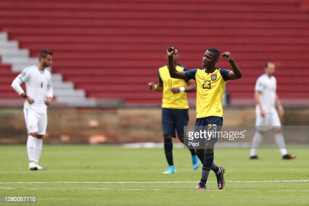 Moises Caicedo of Ecuador celebrates after scoring the opening goal during a match between Ecuador and Uruguay as part of South American Qualifiers...