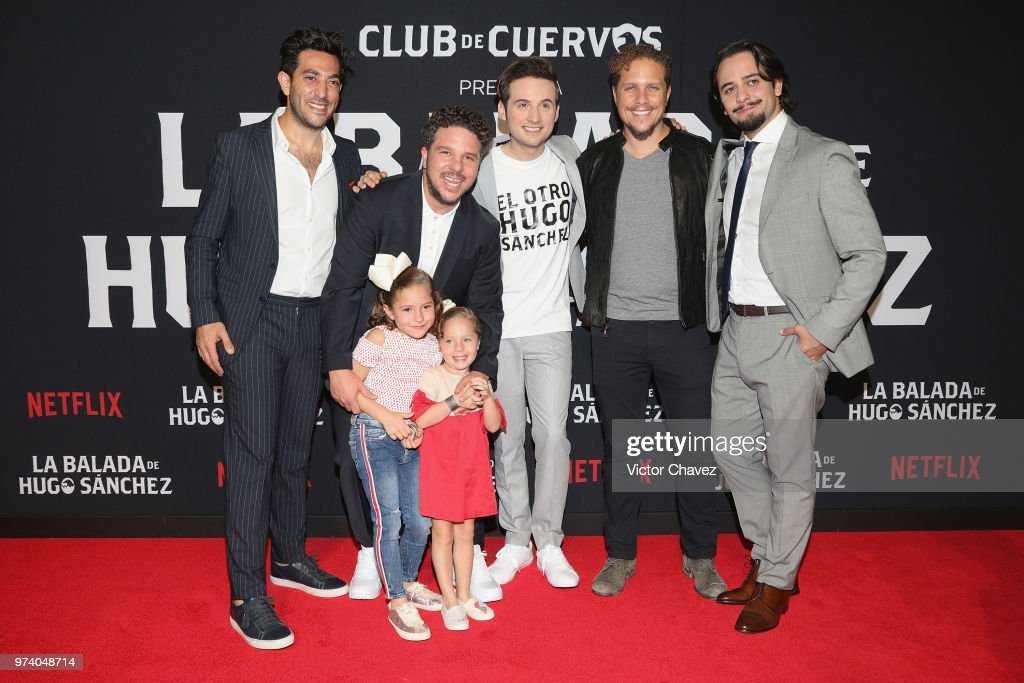 Moises Chiver, Mark Alazraki, Jesus Zavala, Gas Alazraki and Aldo Escalante attend Netflix 'La Balada de Hugo Sanchez' special screening at Alboa Patriotismo on June 13, 2018 in Mexico City, Mexico.